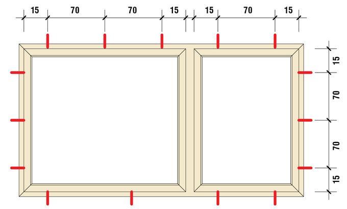 Rozstaw punktów mechanicznego mocowania okna